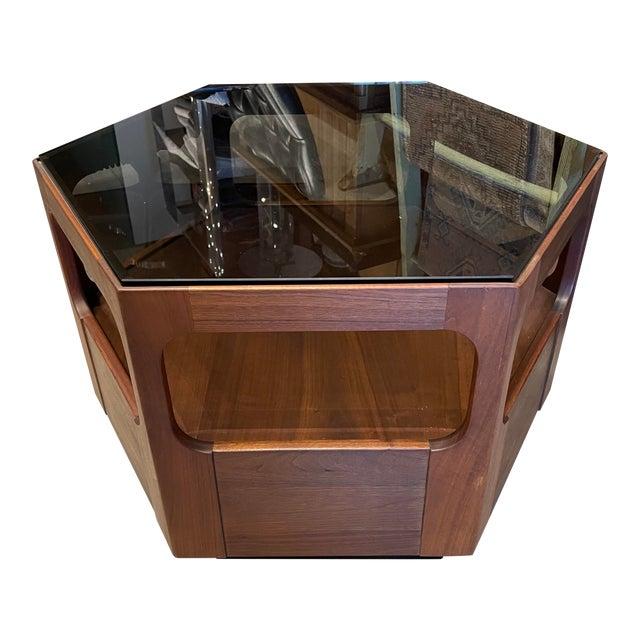 Vintage Browne Salzman Octagonal Smoked Glass Side Table For Sale