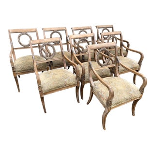 1960s Vintage Regency Limed Gilt Laurel Wreath Armchairs - Set of 8 For Sale