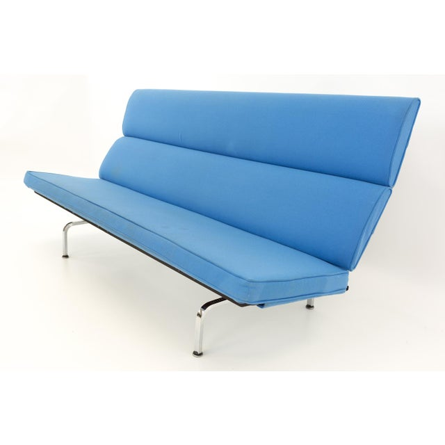 Blue Eames for Herman Miller Mid Century Modern Compact Daybed Sofa For Sale - Image 8 of 13