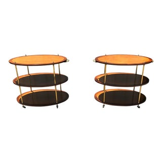 19th Campaign Oval Tables With Brass Mounts - a Pair For Sale