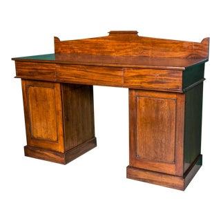 Solid Mahogany Pedestal Side Board For Sale