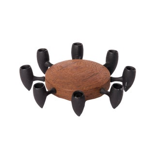 1964 Danish Modern Iron and Wooden Candle Holder - Holds 8
