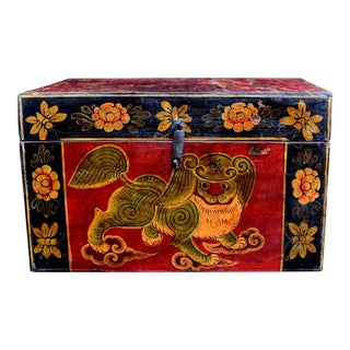 Antique Tibetan Painted Foo Dog Box 6 For Sale