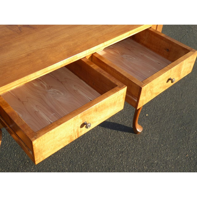 1970s Queen Anne Birch Wood Cedar Lined Two Drawer Writing Desk With Leaf Inlay For Sale - Image 11 of 13