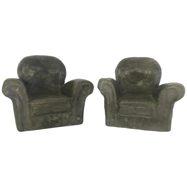 Miniature Lounge Chair Ceramic Sculptures - a Pair For Sale