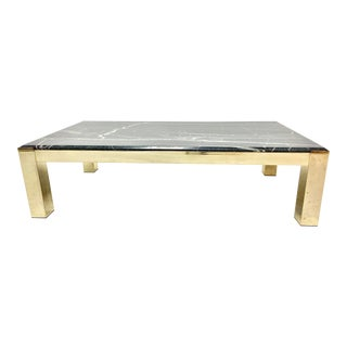 Verde Green Marble and Brass Coffee Table For Sale