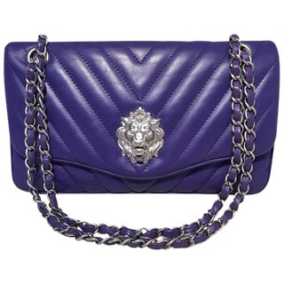 Chanel Purple Lambskin Leather Lion's Head Classic Flap Shoulder Bag For Sale