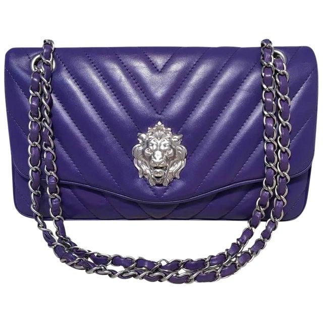 21b81c5abc22a1 Chanel Purple Lambskin Leather Lion's Head Classic Flap Shoulder Bag For  Sale