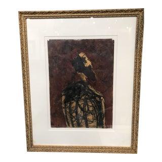 Encaustic Portrait on Paper by Jean Pierre Bourquin For Sale