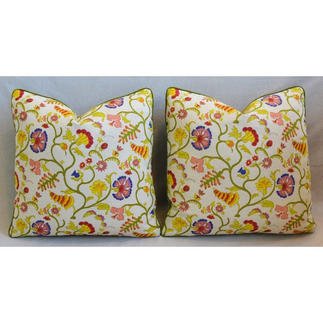"Early 21st Century Raoul Floral & Scalamadre Mohair Velvet Feather/Down Pillows 23"" Square - Pair For Sale - Image 5 of 10"