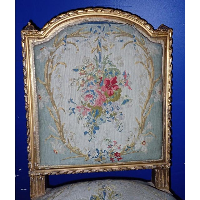 Mid 19th Century Louis XVI Petit Point Embroidered Chairs- A Pair For Sale - Image 9 of 11
