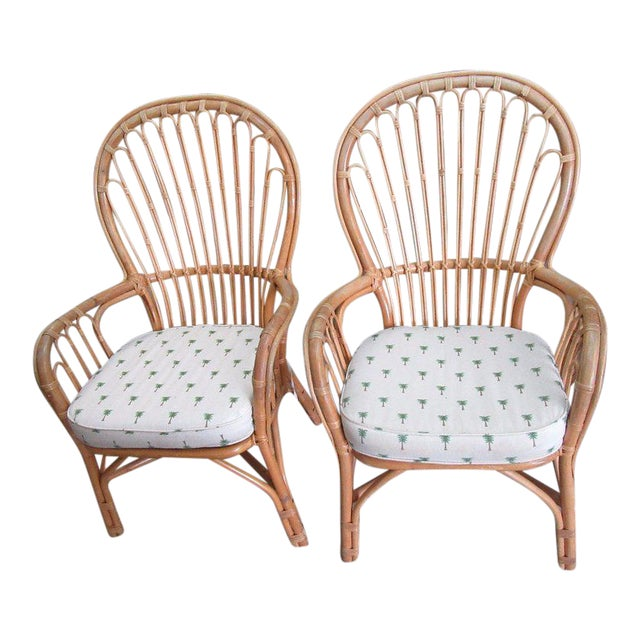 Island Style Rattan Chairs - A Pair - Image 1 of 7