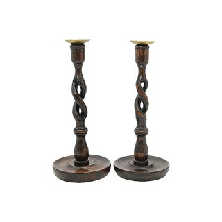 Antique English Open Twist Candlesticks - a Pair For Sale