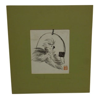 """Modern Original Matted Drawing Sketch """"The Parrot"""" by McVay For Sale"""