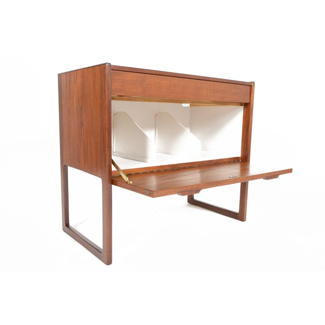 Danish Modern Teak and Grasscloth Entry Chest - Image 4 of 10