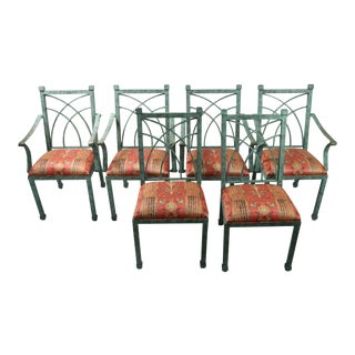 Faux Verdigris by Pompelli of Miami Patio Chairs- Set of 6 For Sale