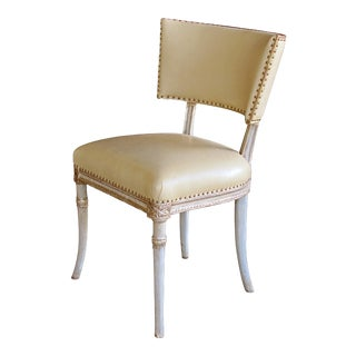A Graceful American 1940's Celadon Painted Grosfeld House Side/Dressing/Desk Chair For Sale