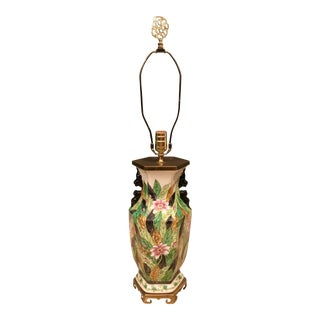 Chinoiserie Tobacco Leaf China Lamp For Sale