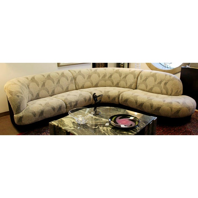 Black Contemporary Modern Kagan Style 3 Pc Curved Sectional Sofa 1980s Gray Black For Sale - Image 8 of 11