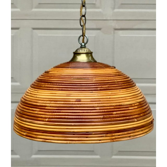 Mid-century Bamboo Ceiling light in excellent working condition. Can be used indoor or outdoor. This light fixture is hard...