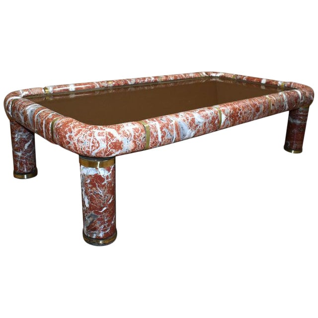 1970s Tommaso Barbi Ceramic Coffee Table With Mirror Top For Sale