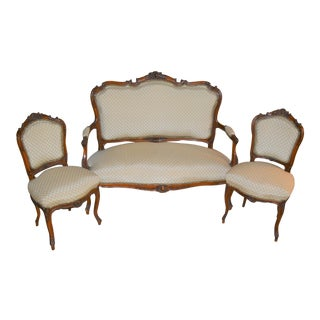 19th Century Louis XV Style Settee and 2 Chairs - 3 Piece Set For Sale