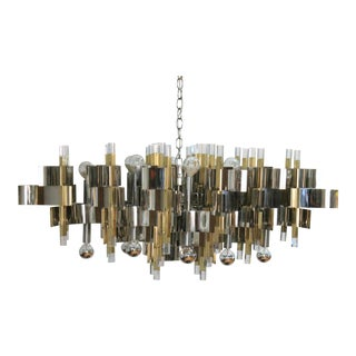 Italian Modernist Brass Chrome and Lucite Chandelier by Sciolari For Sale