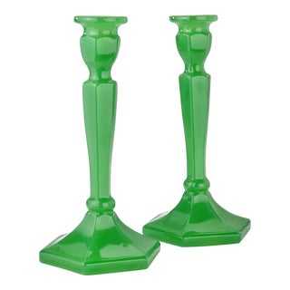 Vintage 1930s Depression Glass Green Candle Sticks - a Pair For Sale