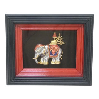 Dazzling Exotic Thai Jeweled Elephant Collectible - Framed