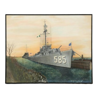 Original USS Haraden WWII Destroyer Watercolor Painting For Sale