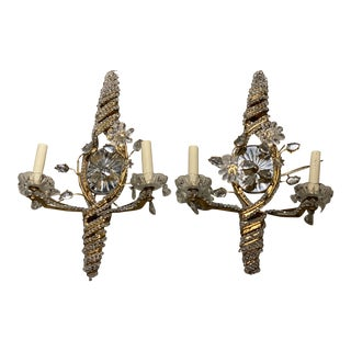1930s French Gilt Metal Sconces With Mirrored Backplate - a Pair For Sale