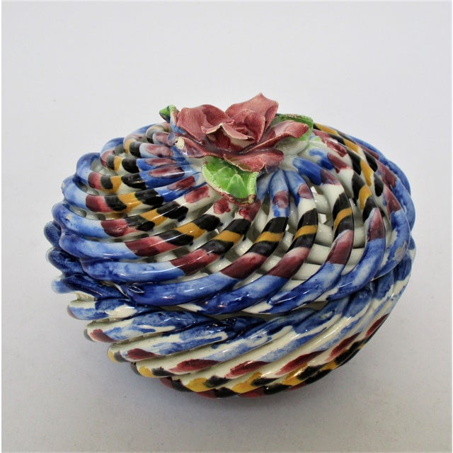 Ceramic Capodimonte Lidded Container For Sale - Image 7 of 7
