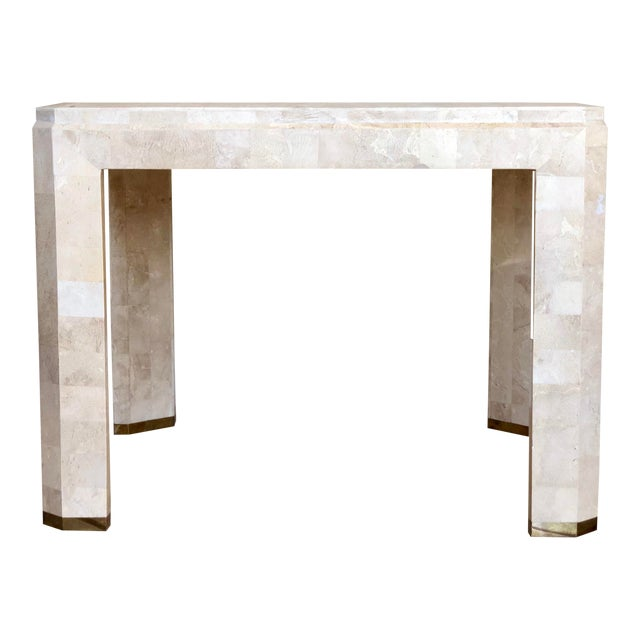1970s Postmodern Maitland-Smith Tessellated Stone Side Table For Sale