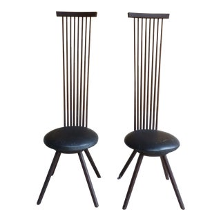 1950s Modern Jeffrey Greene Exaggerated Back Chairs - a Pair