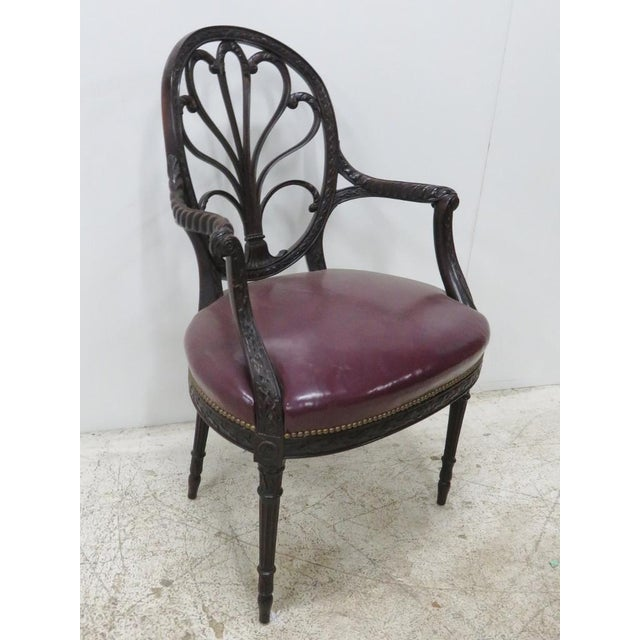 Wood English Mahogany Carved Arm Chair For Sale - Image 7 of 9