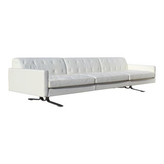 Over-Scale Poltona Frau 'Italy' Leather & Stainless Steel Sofa For Sale