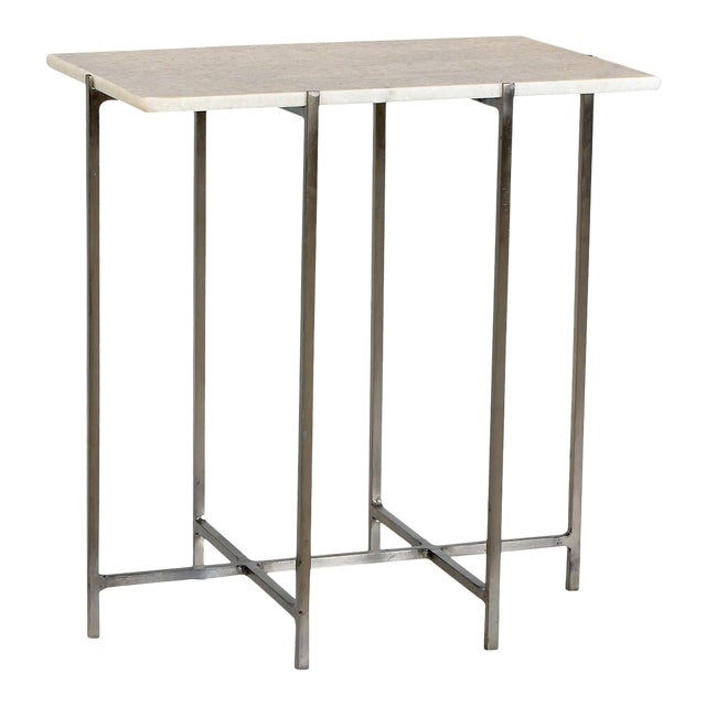 Nickel & Marble Side Table For Sale