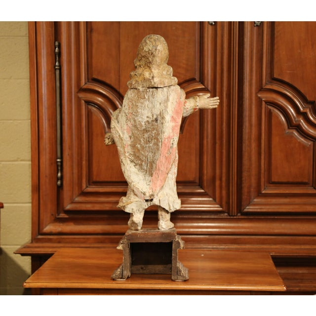 17th Century French Hand-Carved Polychromed Painted Statue of Saint on Stand For Sale - Image 9 of 11