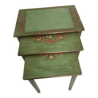 20th Century Boho Chic Spring Green Nesting Tables - Set of 3 For Sale