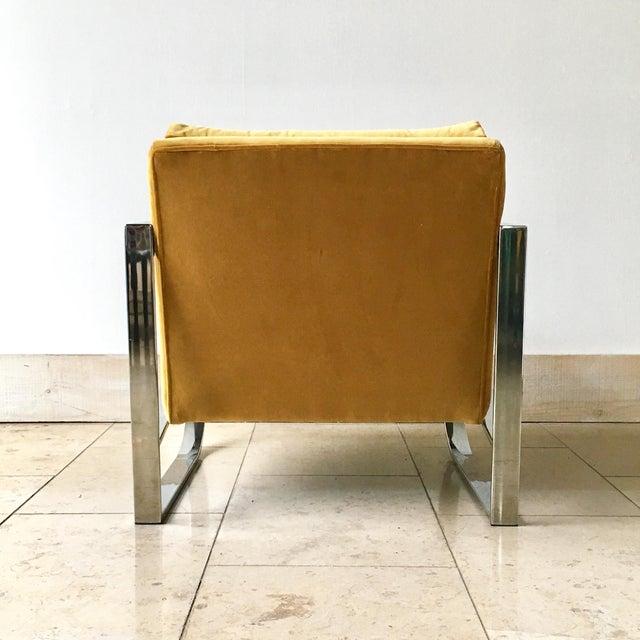 Chromium Steel Framed Velvet Armchairs 1970s For Sale - Image 4 of 11