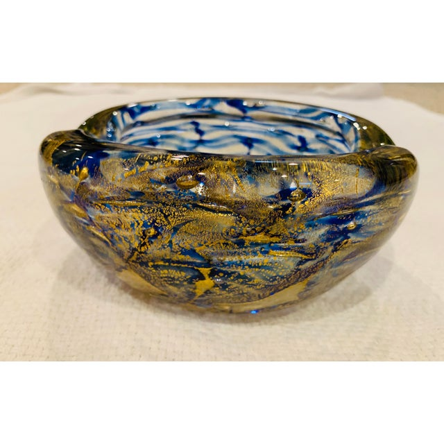 Art Glass Mid-Century Modern Blue and Gold Swirl Ashtray Bowl For Sale - Image 7 of 8