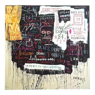 "Jean Michel Basquiat Estate Fine Art Lithograph Pop Art Print "" Museum Security (Broadway Meltdown ) "" 1983 For Sale"