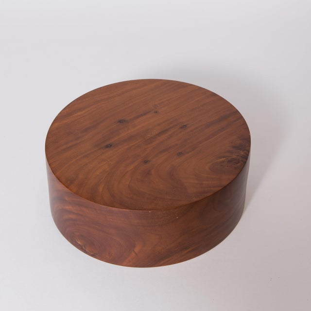 Mid-Century Modern Hand Carved Corteza Lingnum Vitae Cylindrical Bowl For Sale - Image 3 of 9