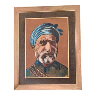 Mid-Century Portrait of Man With Turban, Framed For Sale