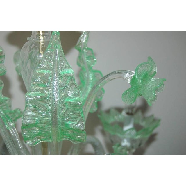Chandelier Vintage Murano Glass Clear Green For Sale - Image 10 of 10