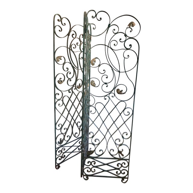 Antique Green Wrought Iron Folding Divider For Sale