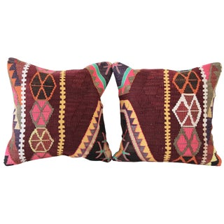 Burgundy Turkish Kilim Pillows - A Pair For Sale