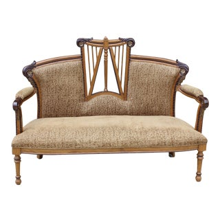 Vintage Art Deco Nouveau Carved Velvet Settee Sofa For Sale
