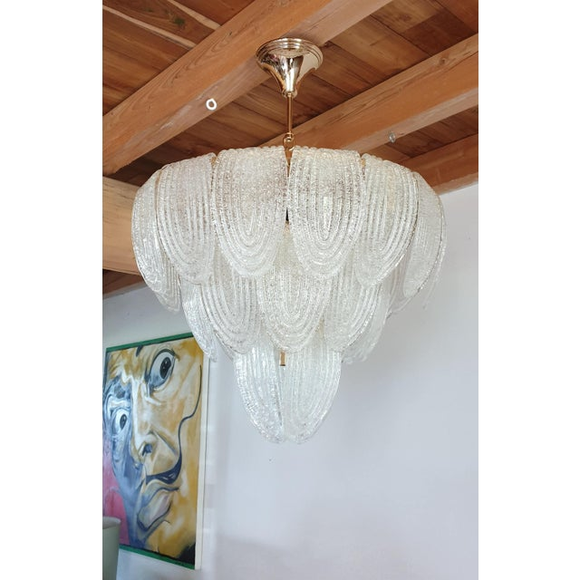 Mid-Century Modern Murano Glass and Plated Gold Chandelier by Mazzega For Sale In Boston - Image 6 of 10