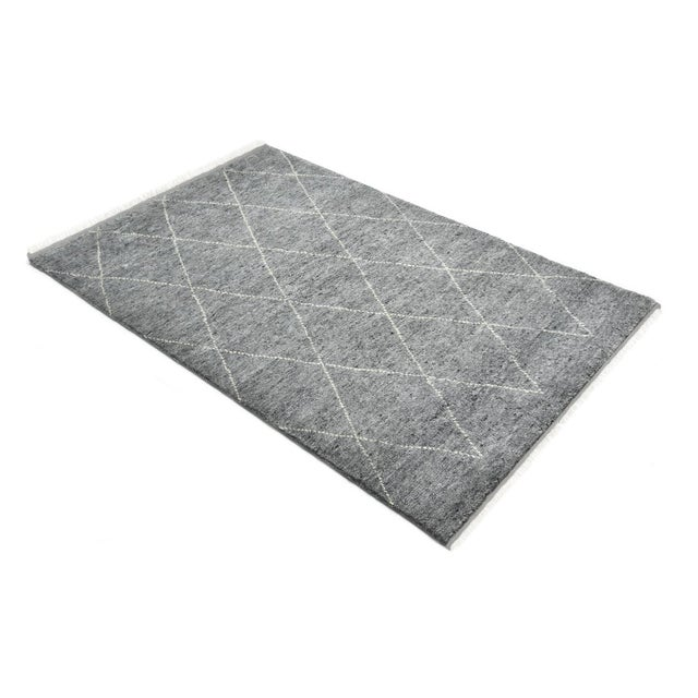 Gray Shaggy Moroccan, Bohemian Shaggy Moroccan Hand Knotted Area Rug, Gray, 8 X 10 For Sale - Image 8 of 9